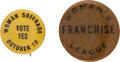 Political:Pinback Buttons (1896-present), Woman's Suffrage: Pair of Buttons....