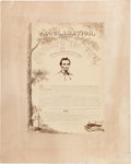 Political:Posters & Broadsides (pre-1896), Abraham Lincoln: Emancipation Proclamation Mounted Albumen Dated 1864. ...