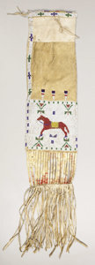 American Indian Art:Beadwork, A SIOUX BEADED HIDE PICTORIAL TOBACCO BAG. c. 1890. ...