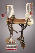 American Indian Art:Beadwork, A CROW WOMAN'S BEADED HIDE PARADE SADDLE. c. 1900. ...