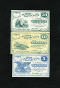 Obsoletes By State:Ohio, Cuyahoga Falls, OH- W.A. Stanford 5¢; 10¢; 50¢ 1862 Very Fine orBetter.. The 10¢ note has toned a shade.. ... (Total: 3 notes)
