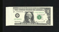 Error Notes:Foldovers, Fr. 1921-F $1 1995 Federal Reserve Note. Gem Crisp Uncirculated.This foldover error unveils a blank space that is approxima...
