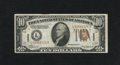 Small Size:World War II Emergency Notes, Fr. 2303 $10 1934A Hawaii Federal Reserve Note. Very Fine.. This is a crispy note that has a top margin with two paper guide...