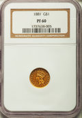 Proof Gold Dollars, 1881 G$1 PR60 NGC....