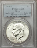 Eisenhower Dollars: , 1974-S $1 Silver MS68 PCGS. PCGS Population (977/3). NGC Census: (176/1). Mintage: 1,900,156. Numismedia Wsl. Price for pro...