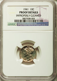 1941 10C -- Improperly Cleaned -- NGC Details. Proof. NGC Census: (3/2685). PCGS Population (7/4107). Mintage: 16,557. N...