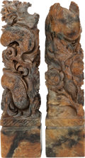 Asian:Chinese, TWO CHINESE CARVED SOAPSTONE FIGURES. 4-1/8 inches high (10.5 cm).... (Total: 2 Items)