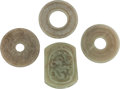 Asian:Chinese, THREE CHINESE JADE BI DISKS AND A JADE BUCKLE. 5/8 x 2-1/4 x 1-5/8inches (1.6 x 5.7 x 4.1 cm). ... (Total: 4 Items)