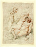 Books:Original Art, [Original Art]. Artist Unknown. Original Pen and Ink Drawing in theStyle of Thomas Rowlandson Depicting Three Nude Figures. ...