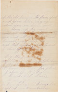 Boxing Collectibles:Memorabilia, 1886 Jake Kilrain Signed Handwritten Letter With Boxing Content....