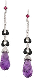 Jewelry, MULTI-STONE, DIAMOND, WHITE GOLD EARRINGS. ...