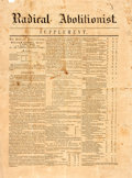 Books:Periodicals, [Slavery]. [Newspaper]. The Radical Abolitionist. N.d., Ca. 1850. 4 pages; two integral leaves. Supplement. ...