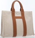 Luxury Accessories:Bags, Hermes Gold Clemence Leather & Natural Toile Harnais Tote Bagwith Palladium Hardware. ...