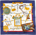 "Luxury Accessories:Accessories, Hermes 90cm Navy & White ""Memoire d'Hermes,"" by Caty LathamSilk Scarf. ..."