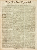 Books:Periodicals, [Slaver Trade]. [Newspaper]. The London Chronicle. 1771.Lead article deals with slavery in the American colonie...