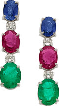 Estate Jewelry:Earrings, MULTI-STONE, DIAMOND, WHITE GOLD EARRINGS. ...