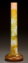 Art Glass:Galle, MONUMENTAL GALLÉ OVERLAY GLASS FLORAL STICK VASE. Circa 1900. CameoGallé. Ht. 23-1/4 in.. ...