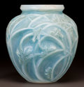 Art Glass:Lalique, R. LALIQUE OPALESCENT GLASS SAUTERELLES VASE WITH BLUEPATINA. Circa 1912. Engraved R. Lalique, France. M...