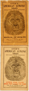 Books:Americana & American History, [Almanac]. Group of Two Copies of Ayer's American Almanac.Lowell: Dr. J.C. Ayer & Co., 1921-1925. Twelvemos. Publis...(Total: 2 Items)