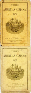 Books:Americana & American History, [Almanac]. Group of Two Copies of Ayer's American Almanac.Lowell: Dr. J.C. Ayer & Co., 1877-1878. Twelvemos. Publis...(Total: 2 Items)