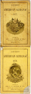 Books:Americana & American History, [Almanac]. Group of Two Copies of Ayer's American Almanac.Lowell: Dr. J.C. Ayer & Co., 1876-1877. Twelvemos. Publis...(Total: 2 Items)
