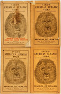 Books:Americana & American History, [Almanac]. Group of Four Copies of Ayer's American Almanac.Lowell: Dr. J.C. Ayer & Co., 1921-1924. Twelvemos. Publi...(Total: 4 Items)