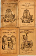 Books:Americana & American History, [Almanac]. Group of Three Copies of Ayer's American Almanacand One Almanach Francais D'ayer. Lowell: Dr... (Total: 4Items)