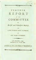 Books:Americana & American History, [Americana]. FURTHER REPORT OF THE COMMITTEE OF REVISAL ANDUNFINISHED BUSINESS, ON LAWS WHICH HAVE EXPIRED, OR ARE NEAREXPIR...