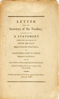 Books:Americana & American History, [Americana]. LETTER FROM THE SECRETARY OF THE TREASURY,TRANSMITTING A STATEMENT EXHIBITING THE AMOUNT OF DUTY ON SALTIMPORTE...