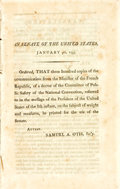 Books:Americana & American History, [Americana]. IN SENATE OF THE UNITED STATES, JANUARY 9TH, 1795.ORDERED, THAT THREE HUNDRED COPIES OF THE COMMUNICATION FROM T...