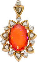 Jewelry, FIRE OPAL, DIAMOND, GOLD PENDANT. ...