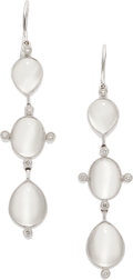 Estate Jewelry:Earrings, MOONSTONE, DIAMOND, WHITE GOLD EARRINGS, ELI FREI. ...