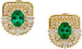 Estate Jewelry:Earrings, TOURMALINE, DIAMOND, GOLD EARRINGS. ...