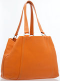 Luxury Accessories:Bags, Prada Orange Leather Shoulder Bag with Silver Hardware. ...