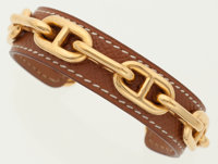 Hermes 65mm Gold Courchevel Leather & Gold Chaine d'Ancre Bracelet