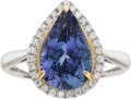 Estate Jewelry:Rings, TANZANITE, DIAMOND, WHITE GOLD RING. ...