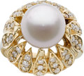 Jewelry, SOUTH SEA CULTURED PEARL, DIAMOND, GOLD RING. ...