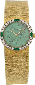Clocks & Mechanical, BEUCHE GIROD DIAMOND, EMERALD, NEPHRITE JADE, GOLD WRISTWATCH. ...