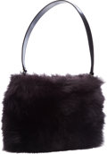 "Luxury Accessories:Bags, Gucci Black Fox Fur Top Handle Bag with Gunmetal Hardware.Excellent Condition. 10"" Width x 7"" Height x 1""Depth. ..."