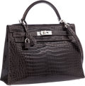 Luxury Accessories:Bags, Hermes 32cm Shiny Graphite Porosus Crocodile Sellier Kelly Bag withPalladium Hardware. Very Good to Excellent Condition...