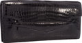 "Luxury Accessories:Bags, Hermes Shiny Black Porosus Crocodile Faco Elan Clutch Bag. VeryGood Condition. 9.5"" Width x 5"" Height x .5"" Depth. ..."