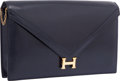 "Luxury Accessories:Bags, Hermes Blue Marine Calf Box Leather Lydie Clutch Bag with GoldHardware. Good to Very Good Condition. 10"" Width x 7""H..."