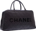 """Luxury Accessories:Travel/Trunks, Chanel Black Quilted Leather Weekender Travel Bag. Very Good Condition. 19"""" Width x 9"""" Height x 5"""" Depth. ..."""
