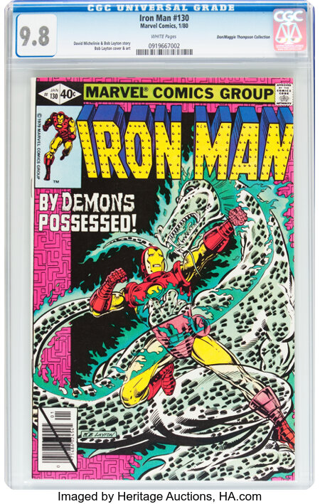 Iron Man #130 Don/Maggie Thompson Collection pedigree (Marvel, 1980) CGC NM/MT 9.8 White pages....