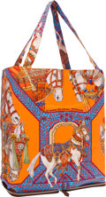 "Luxury Accessories:Bags, Hermes Noisette Vache Liegee Leather & Orange and Blue ""LaDanse du Cheval Marwari,"" by Annie Faivre Silky Pop Tote Bag.P..."