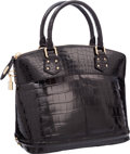 "Luxury Accessories:Bags, Louis Vuitton Black Alligator Lockit PM Bag. Excellent toPristine Condition. 11.5"" Width x 10.5"" Height x 6""Depth..."