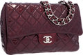 """Luxury Accessories:Bags, Chanel Bordeaux Patent Leather Jumbo Single Flap Bag with Silver Hardware. Very Good to Excellent Condition. 12"""" Width..."""