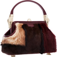 Kieselstein Cord Multicolored Mink Fur & Burgundy Leather Top Handle Bag with Gold Alligator Hardware Excellent