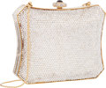 "Luxury Accessories:Bags, Judith Leiber Full Bead Silver Crystal Minaudiere Evening Bag .Excellent Condition . 6"" Width x 5"" Height x 1.5""Dept..."