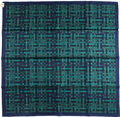 """Luxury Accessories:Accessories, Hermes 90cm Blue & Green """"Bolduc au Carre,"""" by Cathy Latham Silk Scarf . Excellent Condition . 36"""" Width x 36"""" Length ..."""